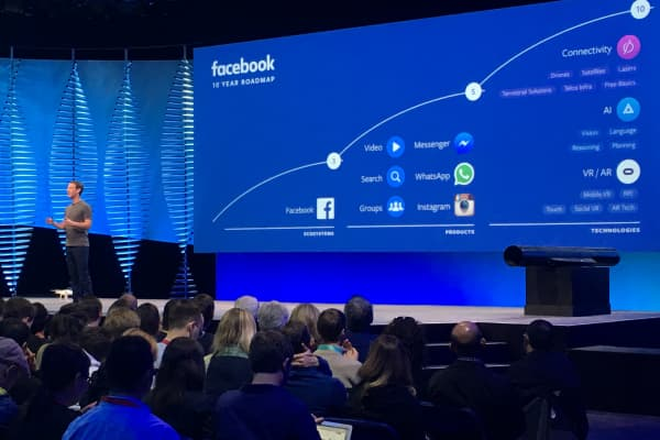 Mark Zuckerberg discusses Facebook's 10-year timeline at F8 Developers Conference in San Francisco.