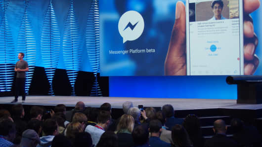 Mark Zuckerberg introduces upgrades to Facebook Messenger services at the F8 Developers Conference.