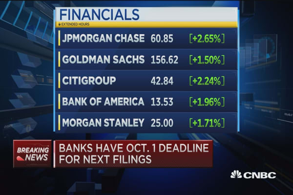 Banks have Oct. 1 deadline for next filings