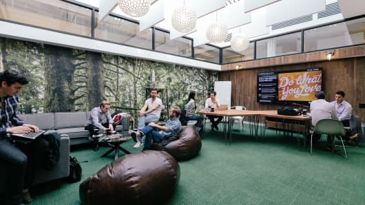 The lounge inside WeWork West Broadway, in New York City