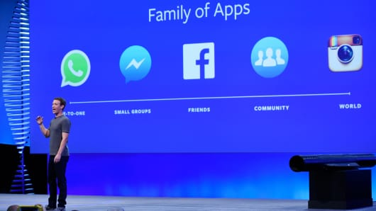 Mark Zuckerberg, founder and chief executive officer of Facebook Inc., speaks during the Facebook F8 Developers Conference in San Francisco, California.