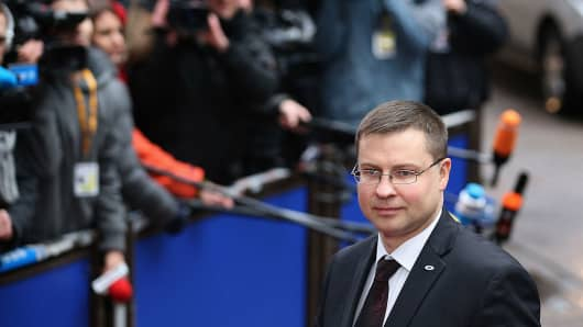 European Commision Vice President Valdis Dombrovskis arrives for the start of the European Council Meeting on February 7, 2013 in Brussels, Belgium.