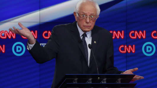 Democratic U.S. presidential candidate Senator Bernie Sanders speaks during a Democratic debate