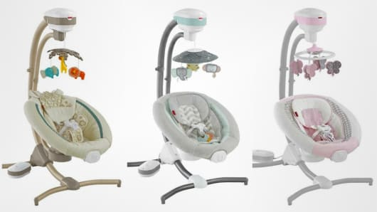 Fisher Price issued a recall of 34,000 cradle swings.