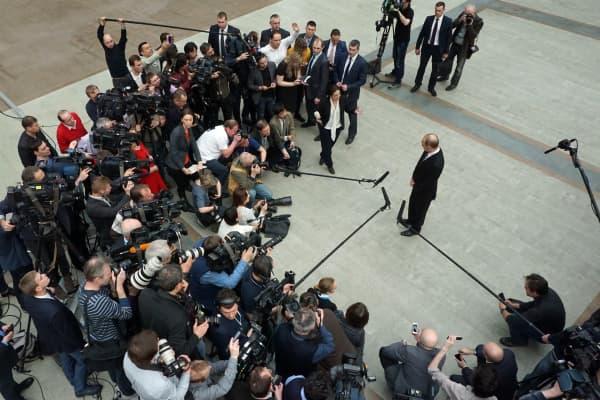 Vladimir Putin meets with journalists.