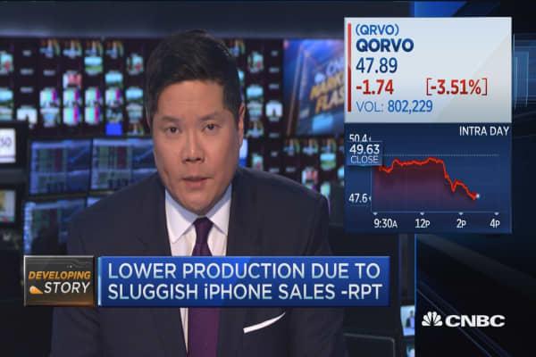 Apple shares fall on iPhone production headline