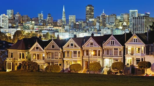 Victorian houses along Alamo Square in San Francisco at Twilight