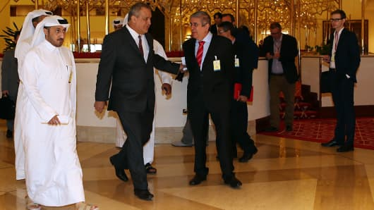 Venezuelan Petroleum Minister Eulogio del Pino arrives for the oil producers' meeting in the Qatari capital Doha, on April 17, 2016. Countries failed to reach an agreement to freeze output at January levels, which sent oil prices tumbling.