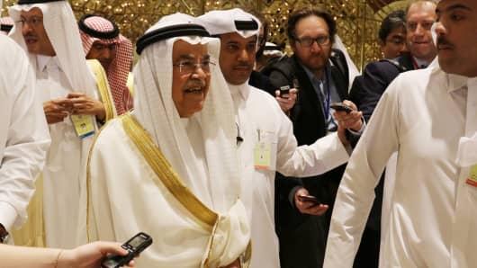 Saudi Oil Minister Ali Ibrahim Al-Naimi in Doha, Qatar.