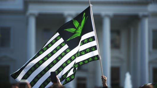 Hundreds of advocates for marijuana legalization rally and smoke pot outside the White House in Washington, D.C.
