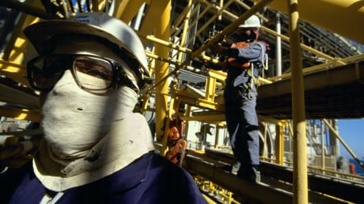 Workers attending a Saudi Oil Rig