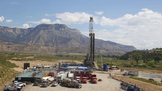 A Williams Companies Inc. natural gas drilling rig operates in Rifle, Colorado.