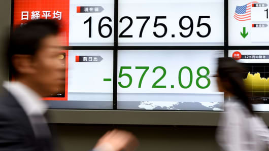 Pedestrians walk in front of an electronic stock indicator at the window of a security company in Tokyo on Monday, April 18, 2016. The Japanese benchmark Nikkei 225 sold off sharply, falling over 3 percent during the session.