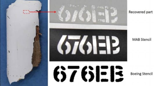 Stenciling on a piece of likely MH370 debris found in December is compared with designs used by Boeing and Malaysia Airlines.