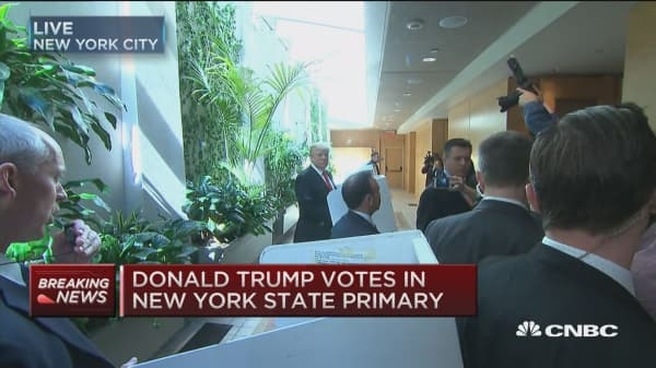 Donald Trump votes in New York State primary