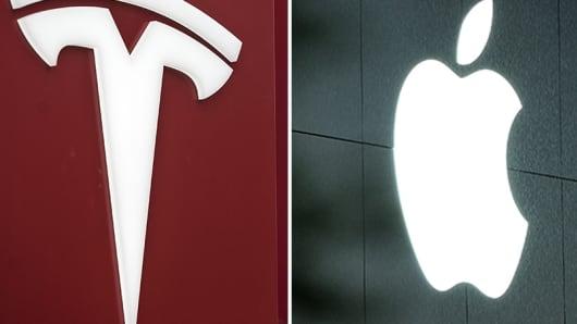 Tesla and Apple logo