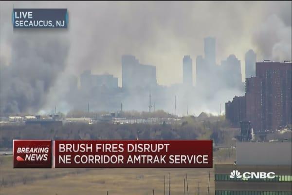 Brush fire burns in Kearney, NJ