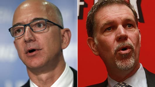 Jeff Bezos, CEO of Amazon and Reed Hastings, CEO of Netflix