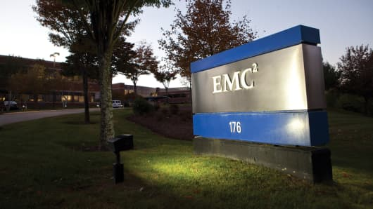 An exterior view of EMC Corporation world headquarters in Hopkinton, Massachusetts.
