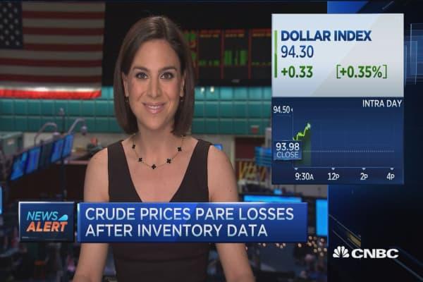 Crude inventories up 2.1 million
