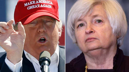 Donald Trump (l) and Janet Yellen (r)