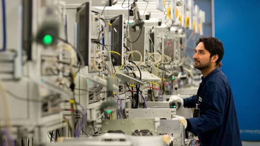 An Ericsson AB employee works on 2G, 3G and 4G data networking devices during production at the company's factory in Tallinn, Estonia, on Wednesday, April 22, 2015
