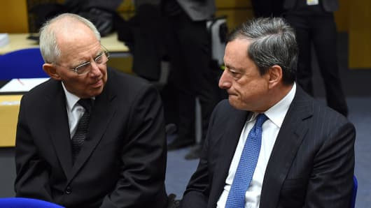 Wolfgang Schaeuble and Mario Draghi