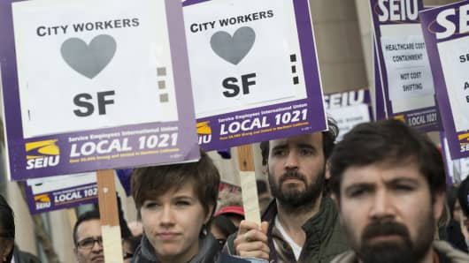Members of the Service Employees International Union (SEIU) Local 1021 in San Francisco.