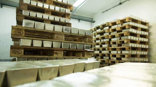 Pallets loaded with newly cast silver bullion bars sit in a saferoom ahead of export at the KHGM Polska Miedz SA smelting plant in Glogow, Poland.