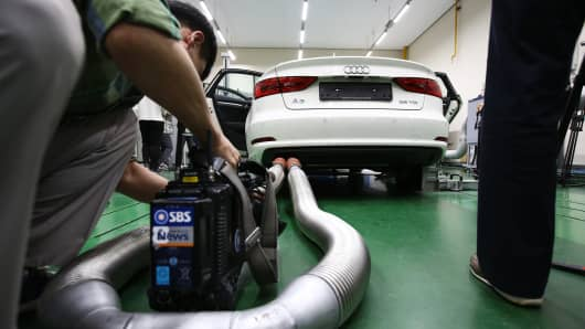 An Audi AG A3 35 TDI emissions certification vehicle, produced by Volkswagen AG, waiting to be tested in South Korea on October 1, 2015.