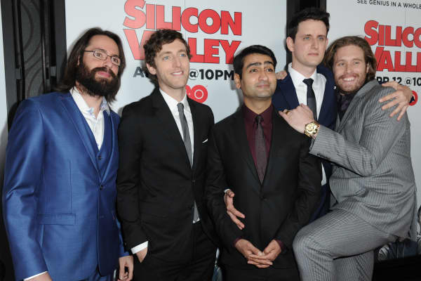 """Martin Starr, from left, Thomas Middleditch, Kumail Nanjiani, Zach Woods and T. J. Miller arrive at the L.A. premiere for Season 2 of """"Silicon Valley,"""" held at the El Capitan Theatre on Thursday, April 2, 2015."""