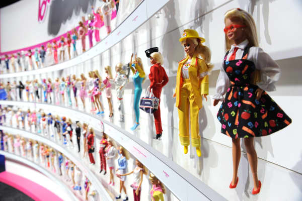 Barbie dolls in the Mattel display at the annual Toy Fair in New York.