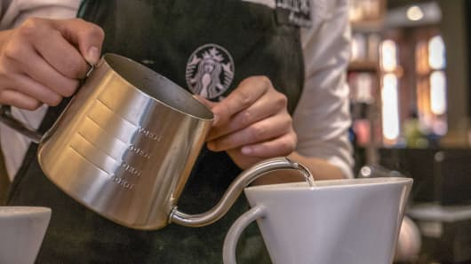 Starbucks staff make coffee behind counter. Starbucks already has nearly 2,000 stores in mainland China and plans to have 3,400 by 2019, laying the groundwork for Chinas next boom.