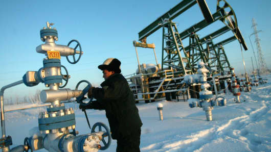 Oil pumping gear at the Mamontovskoye oil field in the Khanty-Mansi region of Russia.