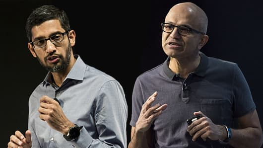 Google CEO Sundar Pichai and Microsoft CEO Satya Nadella