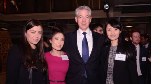 Bill Ackman poses with winners of the Pershing Square Challenge at the Heilbrunn Center for Graham & Dodd Investing, Columbia Business School.