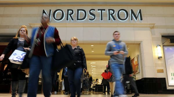 Customers exit Nordstrom