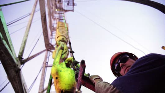 Oil worker working on an oil rig