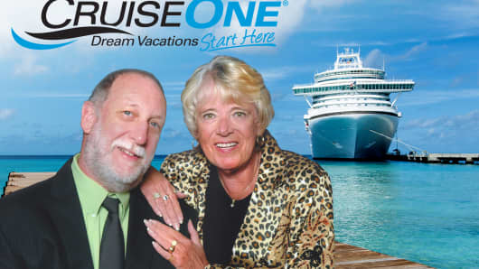 CruiseOne co-owners Robert and Bobbye Haupt claim their business is on track to earn more than $3 million in revenues this year.