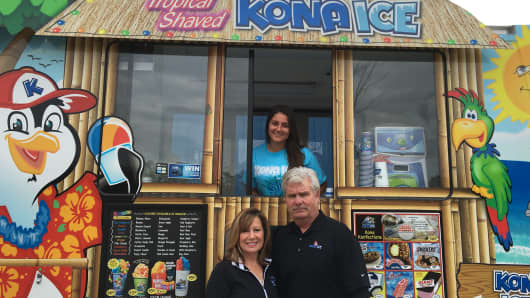 Their past career in the mobile catering business readied Pam and Gary Sample to purchase their first flavored shaved-ice dessert truck.