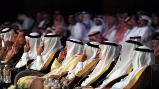 Saudi officials and businessmen attend the Euromoney conference, on May 6, 2014 in Riyadh.