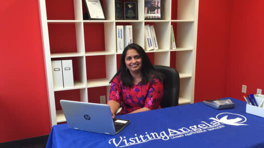 Arpitha Rao, owner of Visiting Angels, claims the non-medical in-home care service for seniors affords her more time with her family.