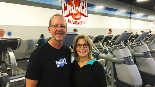 Steve and Trish Clinefelter, co-owners of four Crunch Fitness franchises in Orange County, California