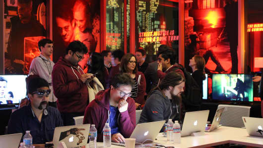 Netflix staff in the war room ready for the launch of the second season of original series Daredevil on March 17, 2016 at Netflix headquarters in Los Gatos, California.