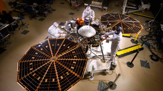NASA's Mars InSight, the next robotic lander, getting checked out before its planned 2018 launch.