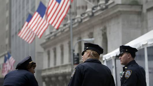 Police outside Wall Street, monitoring wall street