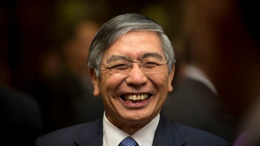 Bank of Japan (BOJ) governor Haruhiko Kuroda. The BOJ kept its monetary policy steady on April 28, 2016, which saw the yen soar and the Nikkei 225 tumble in the aftermath.