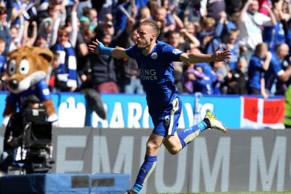 Jamie Vardy of Leicester City celebrates after scoring to make it 1-0 during the Barclays Premier League match between Leicester City and West Ham at the King Power Stadium on April 17 , 2016 in Leicester, United Kingdom.