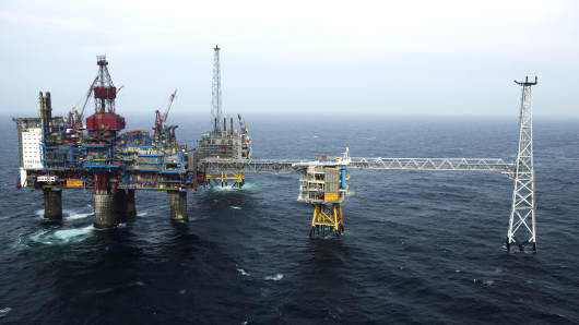 A gas platform in the North Sea of the coast of Norway.