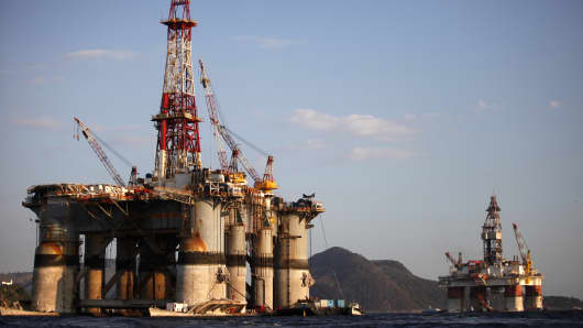 Oil platforms sit under repair in Guanabara Bay in Rio de Janeiro, Brazil.